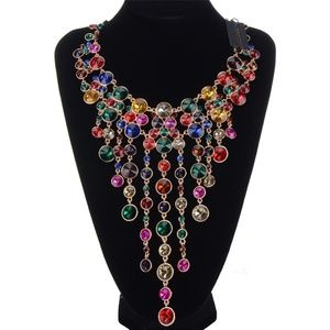 NATASHA COLORFUL RHINESTONES STATEMENT  NECKLACE